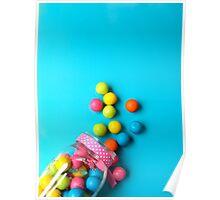 Bubblegum Rainbow Candy Flat lay Poster
