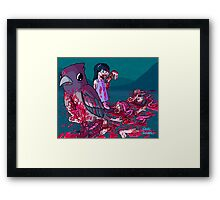 Bird with limbs falling out of a stomach hole and also a cannibal girl Framed Print