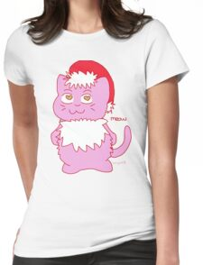 Christmas Cat Meow Design  Womens Fitted T-Shirt