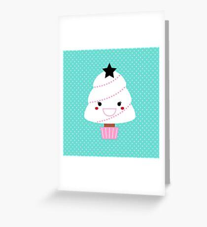 Beautiful cartoon Christmas Tree Vector Greeting Card