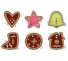 Gingerbread cookies in various shapes Photographic Print
