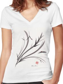 """My Dear Friend""  Original ink and wash ladybug bamboo painting/drawing Women's Fitted V-Neck T-Shirt"