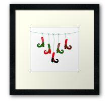 Cute colorful Santa legs handing : green red Framed Print