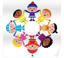Colorful winter children in group : colorful art Poster