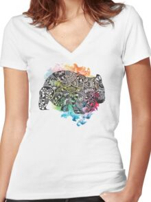 Wombat with Dododoodles and Watercolour Women's Fitted V-Neck T-Shirt