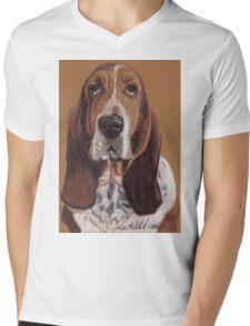 Basset Hound Vignette Mens V-Neck T-Shirt