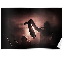 silhouette through the fog and light Poster
