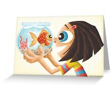 A girl and her fish. Greeting Card