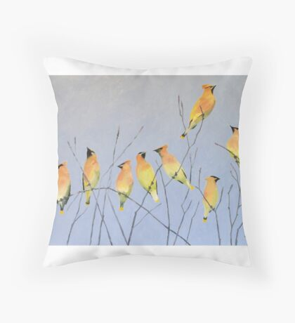 Cedar Waxwings in Winter Throw Pillow