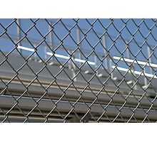 Bleachers Behind Fence Photographic Print