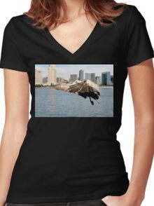 Pelican Ready To Land Women's Fitted V-Neck T-Shirt