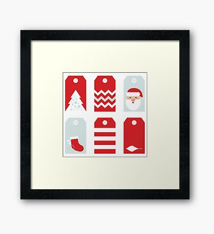 Beautiful Tags set for Christmas / RED Framed Print