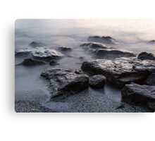 Rough and Soft - Smoky Waves and Rocks on the Beach  Canvas Print
