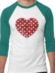 Vintage Patriotic Star Pattern Heart  Men's Baseball ¾ T-Shirt
