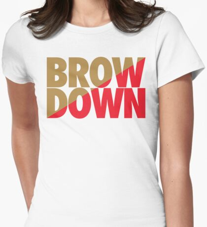 Brow Down (Gold/Red) Womens Fitted T-Shirt