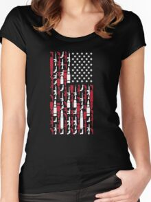 Never Disarm America Gun T-Shirt Right To Bear Arms USA Tee Women's Fitted Scoop T-Shirt