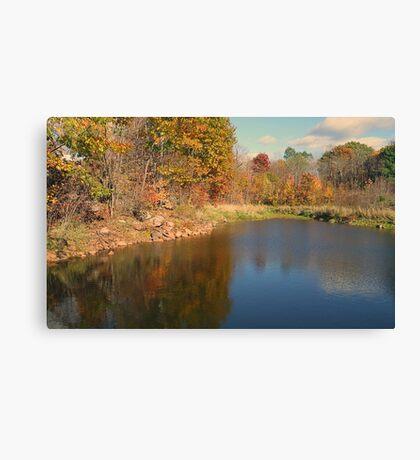 Autumn Water Landscape Reflection Photo Canvas Print