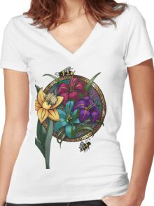 Daffodils & Daylilies Women's Fitted V-Neck T-Shirt