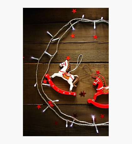 Christmas composition on wooden background Photographic Print