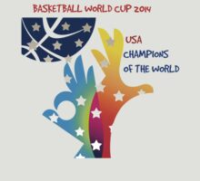 FIBA Official logo decorated with American symbols and text by JoAnnFineArt
