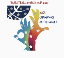 FIBA Official logo decorated with American symbols and text Kids Tee