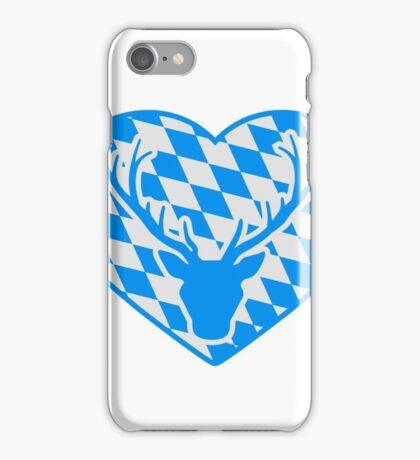 herz liebe symbol flagge bayern hirsch geweih hörner oktoberfest silhouette schwarz shirt cool design  iPhone Case/Skin