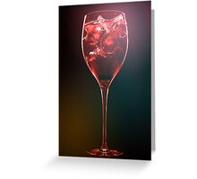 Amazing red cocktail with ice cubes Greeting Card