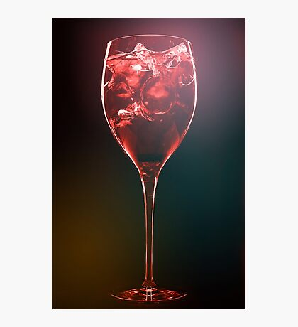 Amazing red cocktail with ice cubes Photographic Print