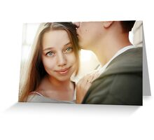 Sunny outdoor close up portrait of young pretty stylish couple Greeting Card