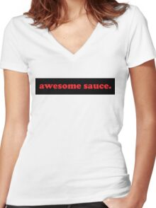 awesome sauce. 5 Women's Fitted V-Neck T-Shirt