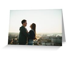 Young stylish couple hugging on the roof Greeting Card