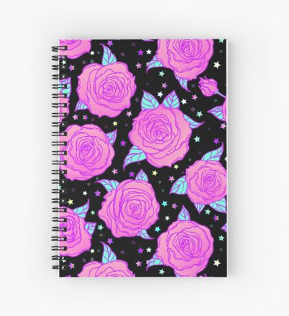Roses and Stars Spiral Notebook