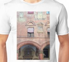 Red brick facade from Bologna with classical decoration and portico Unisex T-Shirt