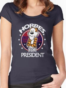 Calvin And Hobbes Camera Pose Women's Fitted Scoop T-Shirt