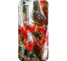 Vermont Fall Autumn Red Maple Leaves Silver Birch Acrylic Painting On Paper iPhone Case/Skin