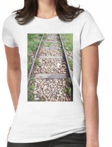 Rail track with metal sleepers and ballast stones. Womens Fitted T-Shirt