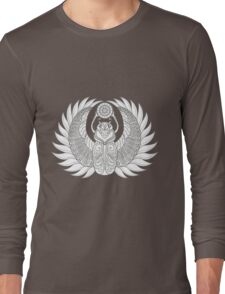Black and white texture. Floral patterns of the scarab zentangle. Decorative ornament. Long Sleeve T-Shirt