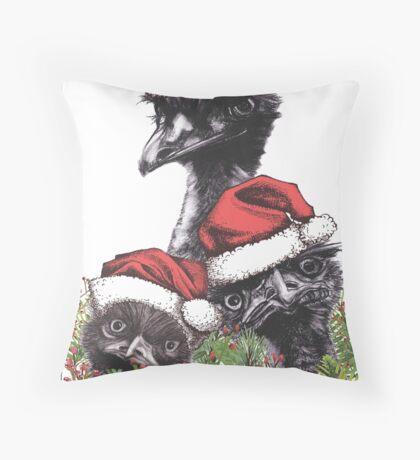 Christmas Emus Throw Pillow