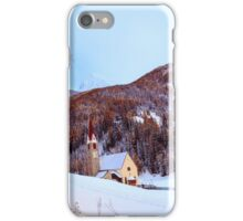 snow on the church in the alpine village iPhone Case/Skin