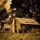 A digital painting of Abandoned Shacks near Beaufort, US by Dennis Melling