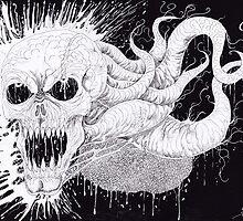 Demon Horror Skull Illustration by waynetully