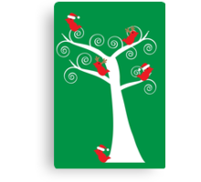 Christmas Birds in a Tree Canvas Print