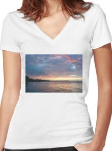 Minutes Before Sunrise - Toronto Skyline Under Spectacular Clouds Women's Fitted V-Neck T-Shirt