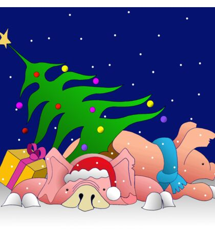Pigs with tree and presents waiting for Christmas  Sticker