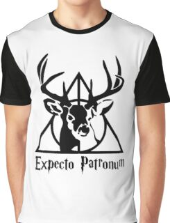 Expecto patrpnum Deathly hallows stag Graphic T-Shirt