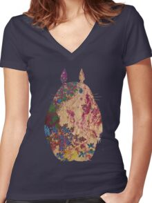 Totoro from Hayao Miyazaki - used look Women's Fitted V-Neck T-Shirt