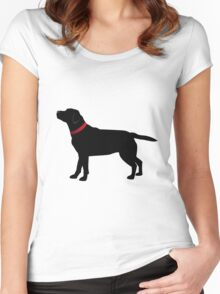Black Labrador with Red Collar Women's Fitted Scoop T-Shirt
