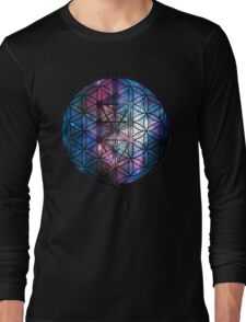 Sacred Geometry: Flower Of Life / Tree Of Life (Painted Cosmos) Long Sleeve T-Shirt
