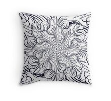 Black and white texture. Floral patterns mandala. Decorative ornament. Throw Pillow