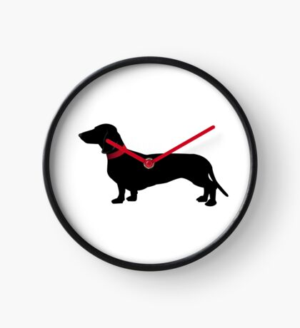 Black sausage dog with red collar Clock